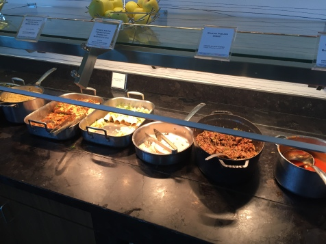 The lunch buffet featuring brisket and vegetarian enchiladas