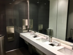 Sinks in the bathroom of the LAX T5 Admirals Club