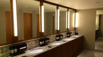 Sinks in The Pier Business Class lounge Hong Kong